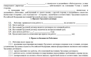 Трудовой договор с работником: образец