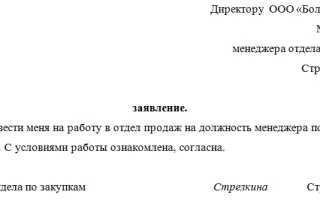 Заявление о переводе на другую должность внутри организации – образец, содержание по ТК РФ