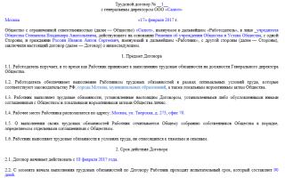 Трудовой договор с директором ООО, генеральным или учредителем, образец