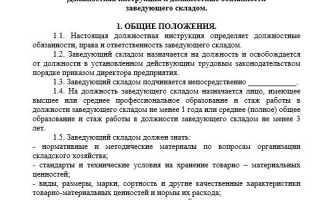 Должностная инструкция заведующего складом: образец, права и обязанности