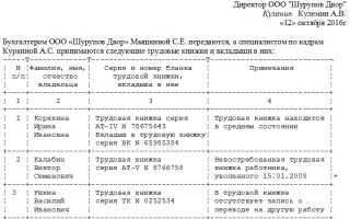 Акт приема-передачи трудовых книжек: скачать образец